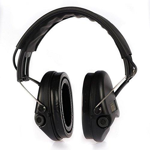 MSA Sordin Supreme Pro X - Aktiver Profigehörschutz, inkl. superbequeme Gelkissen / Ausführung: schwarzes Lederband u. schwarze Cups / AUX-Eingang (Gehörschutz Msa)