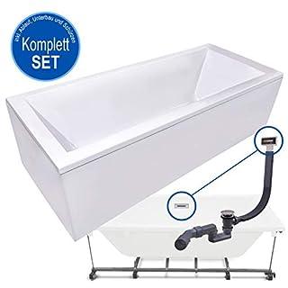 AQUADE Badewanne Komplett-Set inkl. Unterbau Ab-Überlauf und Schürzen-Set 180x80 cm Modell: Neu-Ulm