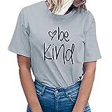 Manadlian Femme T-Shirt Ete Chic Chemisier Coton à Manche Courte 2019 Haut Débardeurs Gilet Impression de Lettre Tops Blouse