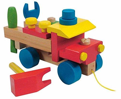 AUTO WERKZEUG BAUSATZ z. schrauben MOTORIK HOLZ LKW Holzspielzeug Kinderland