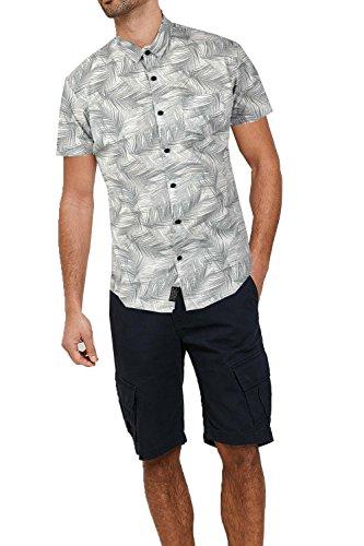 Threadbare Herren Blusen Freizeit-Hemd, Geblümt weiß weiß Gr. Größe-S-91 cm- 97 cm Brust, Bond - White (Shirt New Herren Hawaiian Baumwolle)