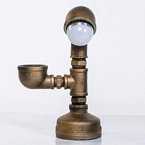Industrial Retro Wasserpfeife Rose Gold LED Tischlampe Service Student Style Geschmiedet Gusseisen Tisch Lampe Loft Study Cafe Bar Dekoration Tischlampe Leuchtet - High 22cm, Breite 24.5cm, E27 (Warmes gelbes Licht)