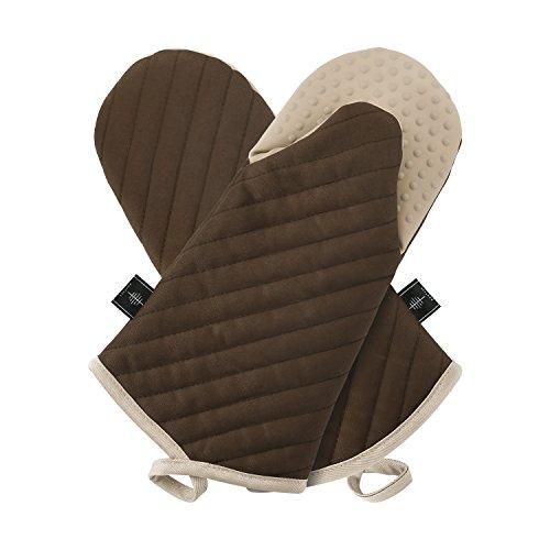 BONTHEE Lange Ofen Handschuhe Professionelle Hitzeresistente Handschuhe für Männer Frauen - Kaffee