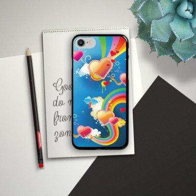 Apple iPhone X Silikon Hülle Case Schutzhülle Herz Love Regenbogen Bunt Hard Case schwarz