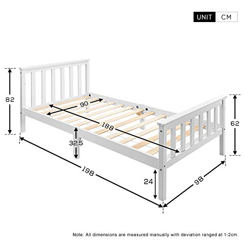 LIFE CARVER Single Bed White Solid Wooden Bed Frame 3ft for Adults, Kids, Teenagers