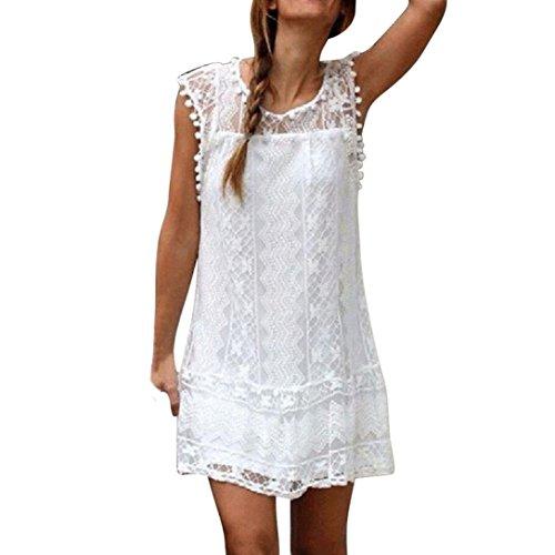 OverDose Damen Elegant Spitze ärmellos Sommerkleid Beiläufige Sleeveless Strand Kurzschluss Kleid Troddel Minikleid Partykleid (S, Weiß)