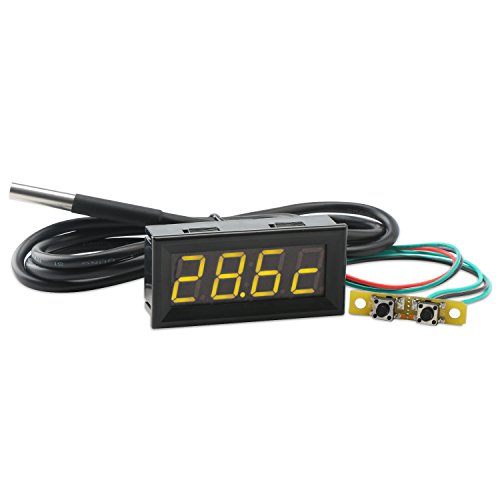 "Droking Digital Multimeter, 0,56""Gelb LED Auto Voltmeter Uhr Thermometer mit 18B20 Sensor Probe 100 cm DC7-30V Uhr Temperatur Voltmeter Volt Zeit Temp 3in1 Monitor"