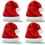 JOYIN 4 Pack Sombreros de Navidad Gorros Rojos de Papá Noel de Navidad de Felpa Corta para niños y Adultos Suministros para Fiestas navideñas