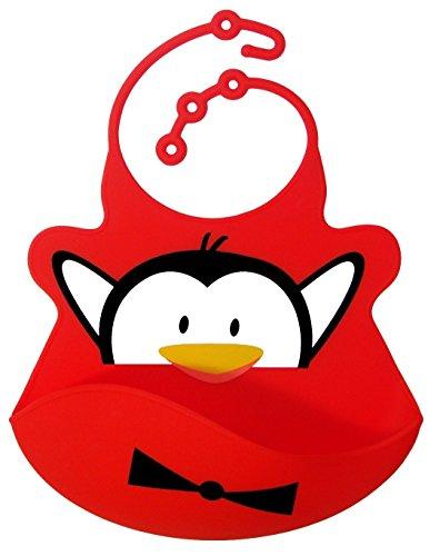 BOMIO Silikon-Lätzchen | mit praktischer Auffangschale | für Babys und Kleinkinder | wasserdicht, leicht abwaschbar, spülmaschinenfest | kindgerechte Tiermotive | geprüft nach EN 71 | Pinguin (Rot) (Leichte Pinguin)