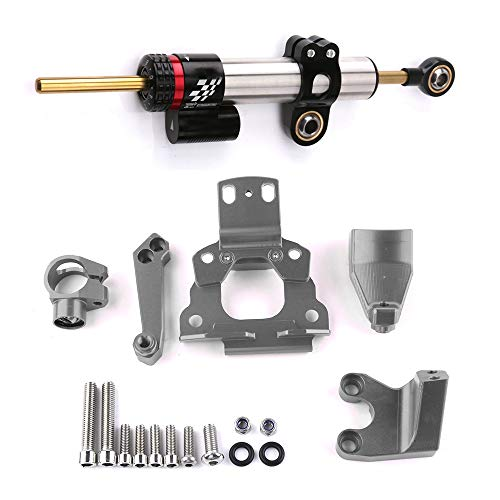 QQJK Motorrad Zubehör Lenkungsdämpfer Stabilisator Halterung CNC Aluminiumlegierung Titan Lineal, Für Kawasaki Z650,SilverA