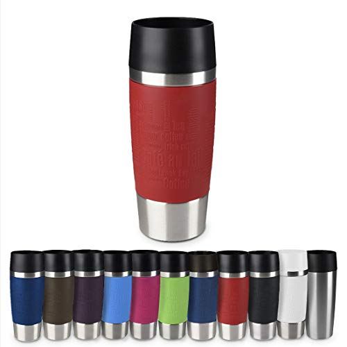 Emsa 513356 Travel Mug Standard-Design, Thermobecher, 1er pack (1 x 360 ml), rot