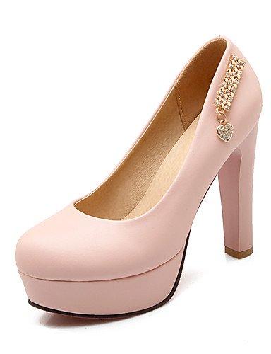 WSS 2016 Chaussures Femme-Bureau & Travail / Décontracté-Bleu / Rose / Blanc-Gros Talon-Talons / Bout Arrondi-Talons-Polyuréthane pink-us9 / eu40 / uk7 / cn41