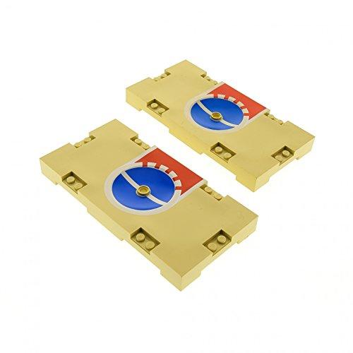 Bausteine gebraucht 2 x Lego System Spielfeld beige tan rot 8 x 16 mit Basketball 3 Punkte Linie Aufdruck Loch für Halterung Platte Sports Field 30489pb02