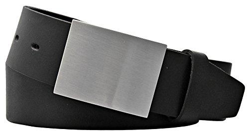 Mytem-Gear Herren Leder Gürtel 40 mm schwarz Rindleder kürzbar Koppelschließe Herrengürtel (95 cm)