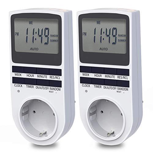 Digitale Zeitschaltuhr, BMK Digitale Elektrische Zeitschaltuhr Steckdose Großer LCD-Display und 10 x Programmierbaren Programme und Random Diebstahlsicherung (2er Sets)