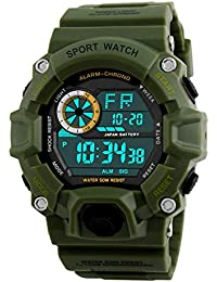 JHGFRT Digital Sports Boys Watch Impermeable Militar LED Multifunción Deportivo Reloj Electrónico De Camuflaje…