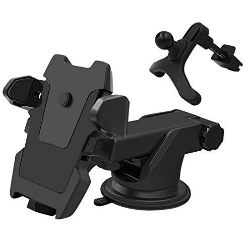 Car Phone Halter Universal Air Vent Car Halterung Halterung für die meisten Mobiltelefone, Smartphones Stoßfest Anti-Skid-Basis , black , b