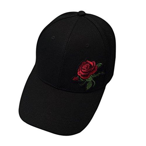Rosen Stickerei (Resplend Unisex Mode Baseball Cap Rose Stickerei Visier Mütze Outdoor Beiläufig Snapback-Kappe Einstellbar Hip Hop Hut (Schwarz))
