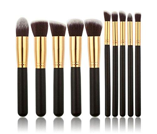 Leisial Professional 10 pièces Maquillage Set de Brosse Maquillage Kit de Toilette Set de Brosse de Maquillage Marque de Laine Pencel Maleta de Maquiagem (Noir 10)