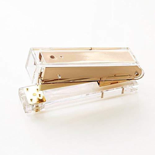 Engrapadora Acrílica Transparente Oro Rosa Grapadora
