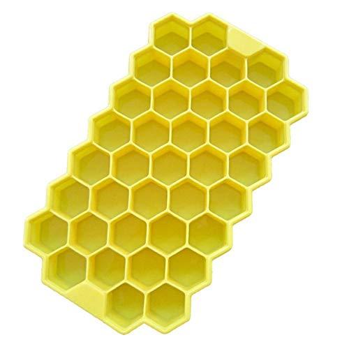 RZRCJ Eiswürfelformen & Eiswürfelschalen 37 Eiswürfel Bienenwabe Eismaschine Form DIY Pops Form Popsicle Formen Joghurt Eisbox Kühlschrank Behandelt Gefrierschrank Eiscreme-Werkzeuge, Gelb -
