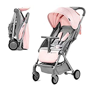 Kinderkraft Lightweight Stroller LITE UP, Baby Pushchair, Buggy, Compact Folding, Ajustable Footrest, Lying Position, with Accessories, Rain Cover, Footmuff, from Birth to 3.5 Years, 0-15 kg, Rosa   6