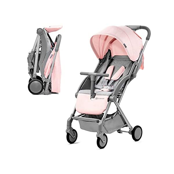 Kinderkraft Lightweight Stroller LITE UP, Baby Pushchair, Buggy, Compact Folding, Ajustable Footrest, Lying Position, with Accessories, Rain Cover, Footmuff, from Birth to 3.5 Years, 0-15 kg, Rosa kk KinderKraft Mechanism for easy folding with one hand After folding, the stroller resembles a briefcase You do not have to stop and move around the stroller to make eye contact with the child 1
