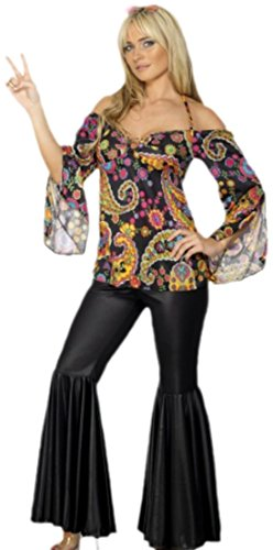 erdbeerloft - Damen Hippi Kostüm Tunika und Schlaghose Karneval Fasching bunt, 44, Mehrfarbig