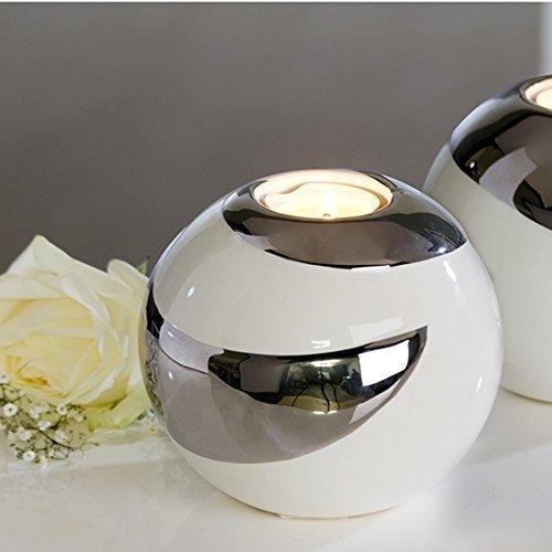 Portavelas extravagante y moderno CRIOLLO de cerámica blanco/plata diámetro 12 cm