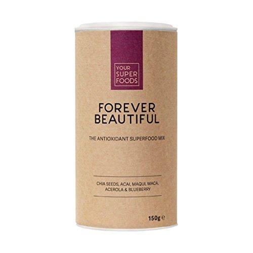 Your Superfoods Forever Beautiful Superfood - Bio Vegan Antioxidans Mix Mischung Pulver aus Acai, Maca, Matcha, Antioxidanten für schöne Haut 150g (Pulver-tee-mix)