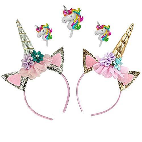DRESHOW Diadema de unicornio Oro Unicornio brillante Cumpleaños Diadema de flores rosas para niñas Adultos Disfraz de cosplay, Fiesta de Navidad, 2 PC de bonificación 3 Unicorn Ballon gratis