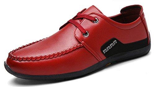 HYLM primavera e autunno nuovo merletto solido di colore scarpe di affari Scarpe casual degli uomini wine red