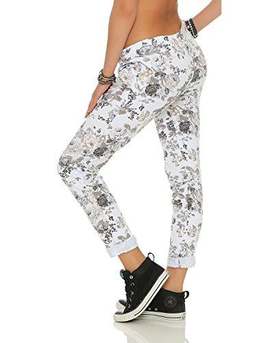 ZARMEXX Damen Sweatpants Baggy Hose Boyfriend Freizeithose Sporthose All-Over Roses Print One Size Weiß