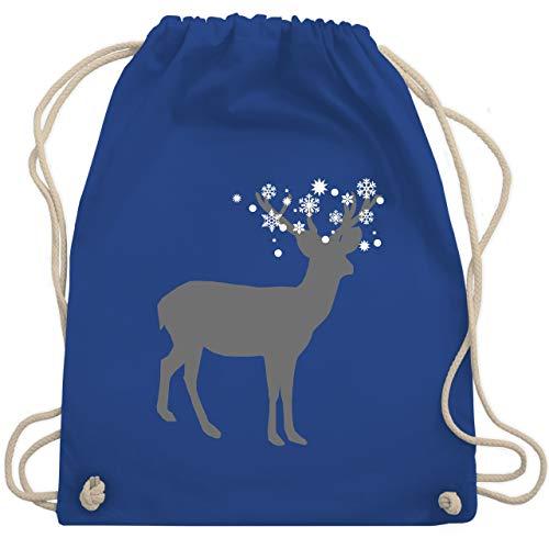 Weihnachten & Silvester - Rentier Schnee Eiskristalle - Unisize - Royalblau - WM110 - Turnbeutel & Gym Bag