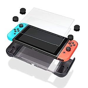 Nintendo Switch Tasche – innoAura 7in1 Schutzhülle inkl, TPU Abdeckung, Schutzfolien aus gehärtetem Glas (2 Stück) und Thumbstick Abdeckung (4 Stück) für Nintendo Switch