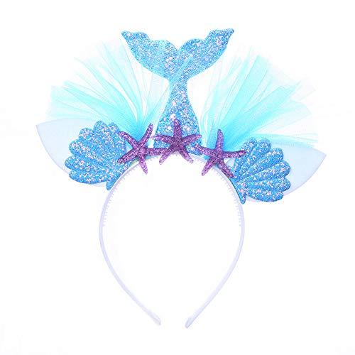 Kostüm Depot - Gyrate Wholesale Depot Kinder Meerjungfrau Stirnband Glitter Blume Ohren Stirnband Kopfschmuck für Kinder Erwachsene Geburtstagsfeier Cosplay Kostüm(Blue)
