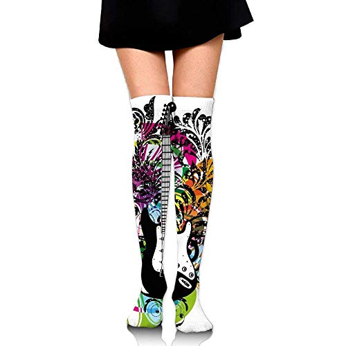 OQUYCZ Woman Abstract Floral Composition with Vibrant Colors Circles and Electric Guitar Popular High Boot Socks