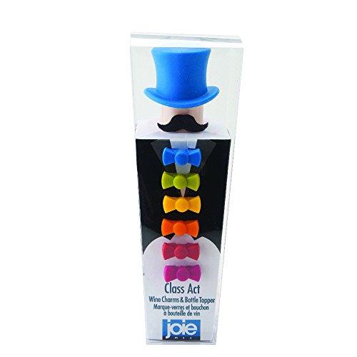 Joie Set Tapón de Vino y Identificadores de Copa, Silicona, Multicolor, 6.98x6.98x20.32 cm, 7 Unidades