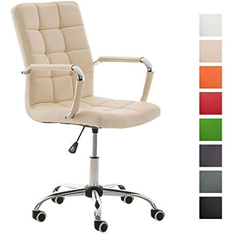 CLP Silla de escritorio DELI V2 con un acolchado de mayor calidad, Altura del asiento: 45 - 54 cm, 8 colores de revestimiento para elegir