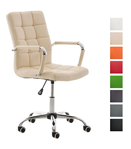 Clp sedia da ufficio deli v2 con rivestimento in similpelle, girevole, 5 ruote, braccioli | ergonomica sedia pc imbottita | fodera in poliuretano e base in metallo, facile da pulire crema