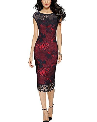 Damen Vintage Off Schulter Cocktailkleid Retro Spitzen Schwingen Pinup Kleid  Rot 6659096fbf