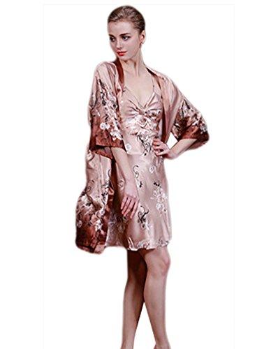 NiSeng Ensemble 2Pc Pyjama De Nuit Chemise De Nuit Élégante Robe De Chambre Et Nuisette Lingerie Femme Bronzer