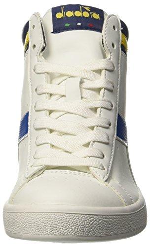 Diadora Game P High, Sneaker Col Roulé Mixte Adulte Blanc Cassé (Bco/blu Micro/giallo Vibrante)