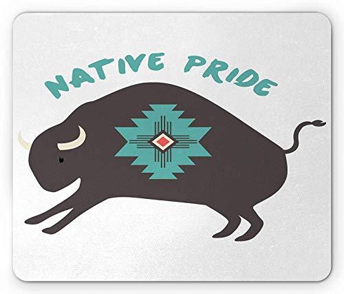 Tribal Mouse Pad, Native Pride Bull in American Geometric Sacred Free Spirit Folk Culture, Standard Size Rectangle Non-Slip Rubber Mousepad, Dark Taupe Turquoise - Metal Dragon Dark
