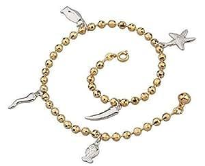 LORELYS -Cadeau Chaîne de cheville plaqué or deux tons jolis motifs pingouin poisson étoile de mer et corail