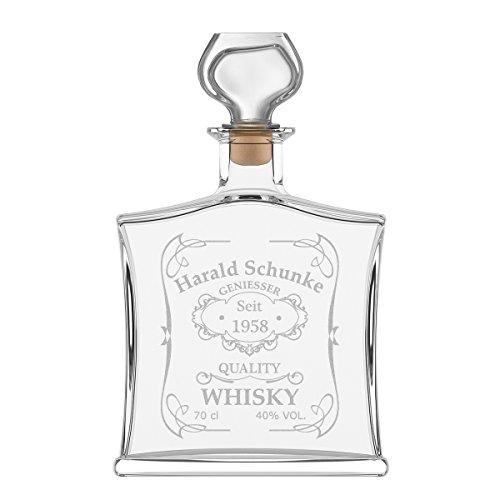 polar-effekt Personalisierte Edle Whiskyflasche mit Gravur - 700 ml Dekanter mit Glass Verschluss - Whisky-Karaffe Geschenk zum Geburtstag - Motiv Quality Whisky
