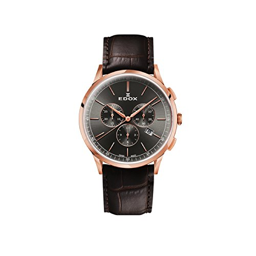 EDOX Men's Chronograph Quartz Watch with Leather Strap 10236-37RC-GIR