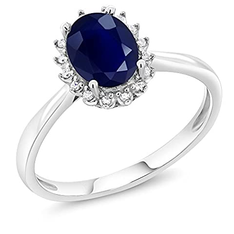 10K White Gold 1.79 Ct Oval Blue Sapphire Engagement Ring with Diamonds