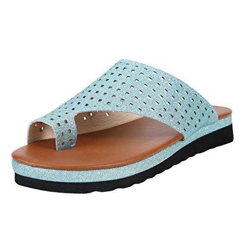 n Frauen Wohnungen Keile Offene Zehe Ankle Sommer Schuhe Frau Römische Mode 2019 (40 EU, Z-Hellblau) ()