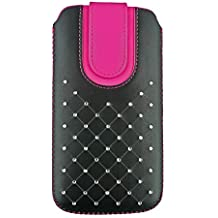 Emartbuy Faux Leather Slide in Pouch Case Cover with Magnetic Flap for BLU Studio Mega (17.5x10.4x1cm) - Black/Hot Pink Gem Studded